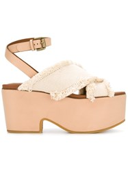 See By Chloe Canvas Wedge Sandals Nude Neutrals