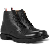 Thom Browne Pebble Grain Leather Cap Toe Boots Black