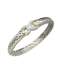 Lord And Taylor Sterling Silver 14K Yellow Gold Diamond Bangle White Gold