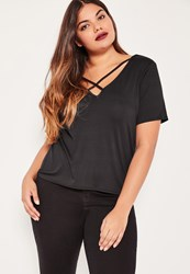 Missguided Plus Size Black Cross Front T Shirt