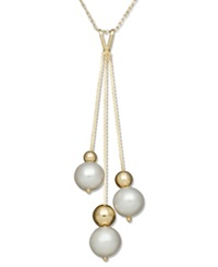 Belle De Mer Pearl Necklace 14K Gold Cultured Freshwater Pearl And Bead Pendant