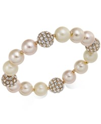 Charter Club Rose Gold Tone Pave And Imitation Pearl Stretch Bracelet Created For Macy's