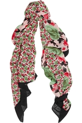 Marc By Marc Jacobs Spliced Jerrie Rose Printed Voile Scarf