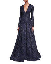 J. Mendel Deep V Neck Fil Coupe Ball Gown Blue