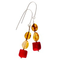 Be Jewelled Sterling Silver Amber Drop Earrings Multi