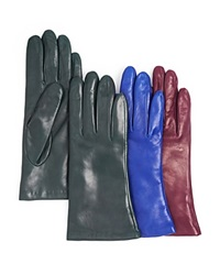 Bloomingdale's 2 Button Length Cashmere Lined Leather Gloves Plum