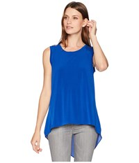 Ivanka Trump Sleeveless Round Neck Top With Flared Open Hem Sea Blue Sea Blue Clothing