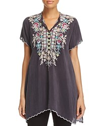 Johnny Was Collection Livana Embroidered Tunic Gray Onyx