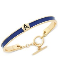 Bcbgeneration Gold Tone Love Letter Initial Bangle Bracelet Yellow Dark Blue A