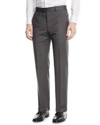 Emporio Armani Basic Flat Front Wool Trousers Gray