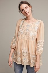 Anthropologie Easterly Embroidered Blouse Peach