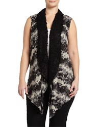 Alberto Makali Plus Draped Knit Vest W Faux Fur Trim Gray