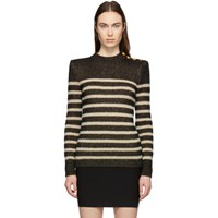 Balmain Black And Beige Striped Button Sweater