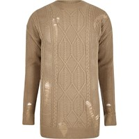 River Island Light Brown Mesh Cable Knit Oversized Jumper