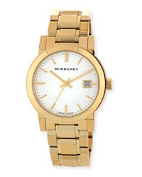 Burberry 34Mm Yellow Golden Plated City Watch