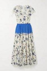 Lela Rose Pleated Floral Print Corded Lace And Crepe Midi Dress Ivory
