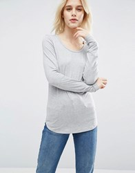 Asos T Shirt With Long Sleeve And Scoop Neck Grey Marl