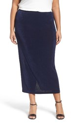 Vikki Vi Plus Size Women's Stretch Knit Straight Maxi Skirt Navy