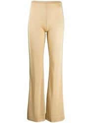 Acne Studios Metallic Threading Flared Trousers Neutrals