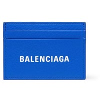 Balenciaga Logo Print Full Grain Leather Cardholder Blue