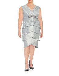London Times Plus Tiered Sheath Dress Iceberg