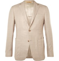 Canali Beige Kei Wool Silk And Linen Blend Blazer Beige
