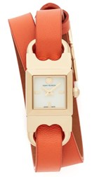 Tory Burch The Gemini Link Duo Strap Watch Ivory Gold Luggage Lilium