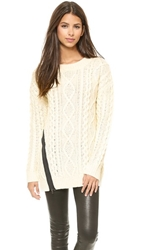 J.O.A. Cable Knit Sweater With Zipper Detail Ivory