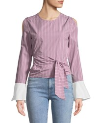 Evidnt Belted Slit Sleeve Blouse Pink