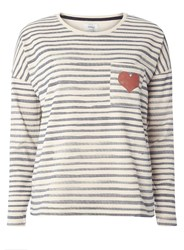 Dorothy Perkins Only Blue And White Stripe Heart Pocket Sweatshirt