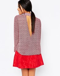 Influence Aztec Print High Neck Blouse With Open Back Red