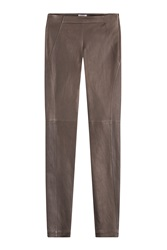 Brunello Cucinelli Leather Leggings Brown