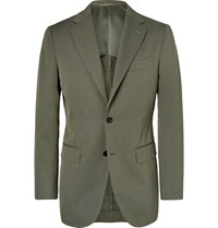 Beams F Army Green Slim Fit Cotton Twill Suit Jacket Army Green