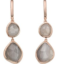 Monica Vinader Siren Double Drop Nugget 18Ct Rose Gold Plated And Onyx Earrings