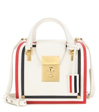 Thom Browne Mrs Thom Mini Leather Tote White