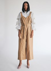 Farrow Naomi Contrast Stitch Jumpsuit In Camel Size Extra Small 100 Cotton