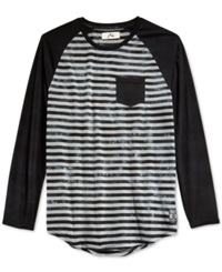Rusty Later Tie Dye Stripe Raglan Long Sleeve T Shirt Black