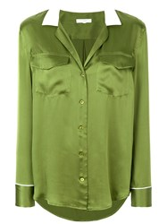 Equipment Contrast Collar Shirt Silk Green