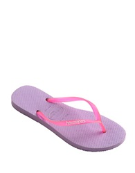 Havaianas Slim Logo Jelly And Rubber Thong Sandals Soft Lilac