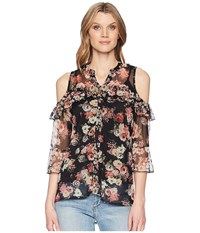 Scully Lucinda Floral Cold Shoulder Top W Tank Black Clothing