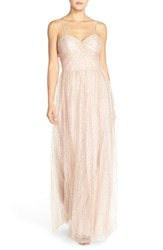 Women's Watters 'Betts' Spaghetti Strap Sequin Tulle Column Gown Luster