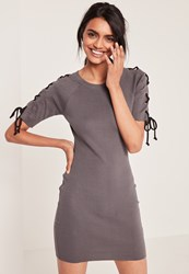 Missguided Grey Lace Up Half Sleeve Ribbed Bodycon Dress