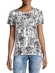 French Connection Roundneck Floral Top White Black