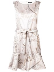 Josie Natori Jacquard Ruffle Hem Dress White