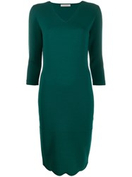 D.Exterior Fitted Knit Dress Green