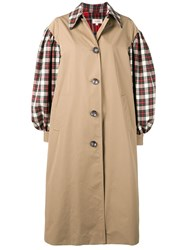Isa Arfen Contrasting Sleeve Coat Nude And Neutrals