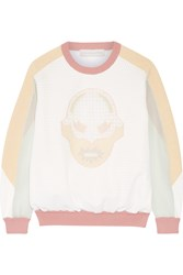 Stella Mccartney Superstellaheroes Jersey Trimmed Embroidered Mesh Sweater Nude