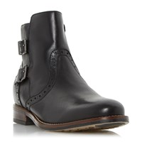 Linea Pascall Double Buckle Ankle Boots Black