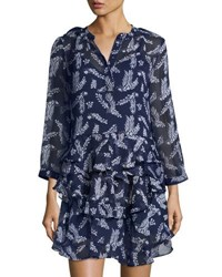 Allison New York Printed Ruffle Dress Navy