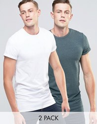 Asos 2 Pack Longline Muscle T Shirt With Roll Sleeve In White And Green Marl Wht Green Ml Multi